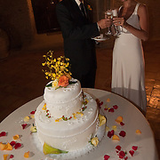 A couple at their wedding reception at the Hotel Villa Cimbrone in Ravello, Italy.