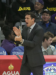 November 27, 2017 - Los Angeles, California, U.S - Coach, Luke Walton of the Los Angeles Lakers during their game with the Los Angeles Clippers on Monday November 27, 2017 at the Staples Center in Los Angeles, California. Clippers vs Lakers. (Credit Image: © Prensa Internacional via ZUMA Wire)
