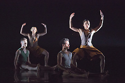 "© Licensed to London News Pictures. 18/11/2014. London, England. Adam Park, Simone Damberg Würtz, Dane Hurst and Vanessa King performing Terra Incognita choreographed by Shobana Jeyasingh. British dance company ""Rambert"" perform their new show ""Triptych"" at Sadler's Wells Theatre from 18 to 22 November 2014. Choreographed by Shobana Jeyasingh with Luke Ahmet, Lucy Balfour, Adam Blyde, Carolyn Bolton, Simone Damberg Würtz, Dane Hurt, Vanessa King, Adam Park, Hannah Rudd and Pierre Tappon dancing. Photo credit: Bettina Strenske/LNP"