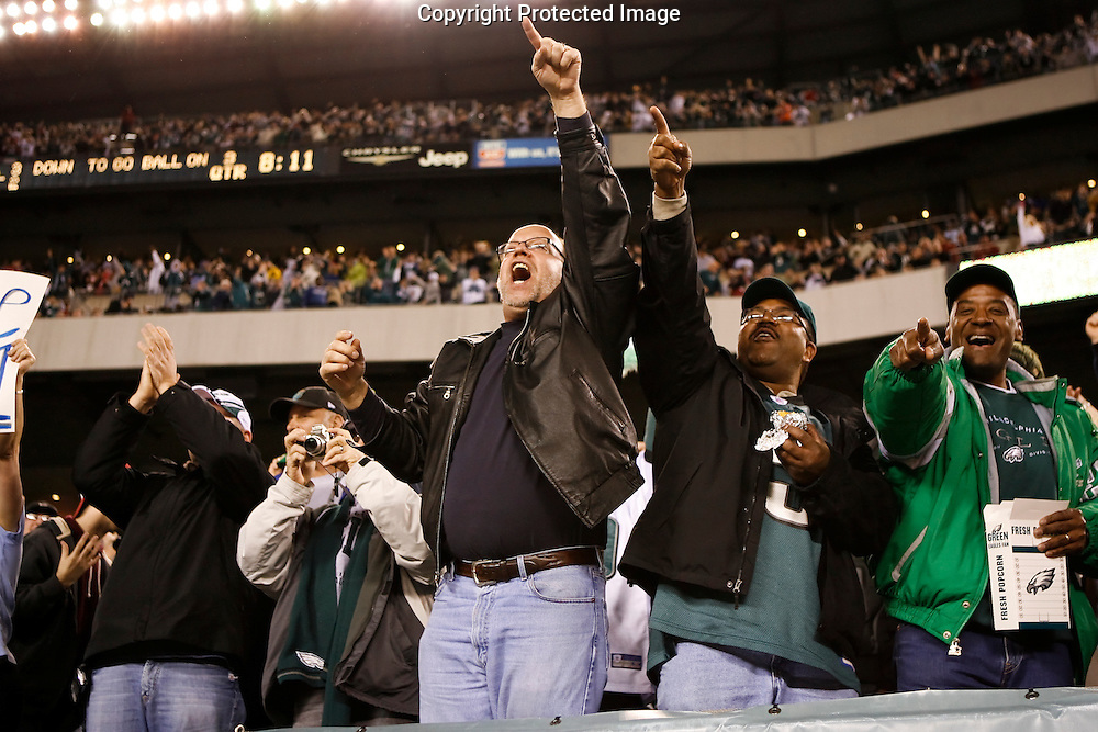 28 Dec 2008: Philadelphia Eagles fans cheer during the game against the Dallas Cowboys on December 28th, 2008. The Philadelphia Eagles won 44-6 at Lincoln Financial Field in Philadelphia, Pennsylvania.