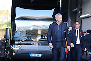 Jose Mourinho, the Manchester Utd manager arrives at the stadium off the team bus. .Premier league match, Swansea city v Manchester Utd at the Liberty Stadium in Swansea, South Wales on Sunday 6th November 2016.<br /> pic by  Andrew Orchard, Andrew Orchard sports photography.