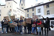 The third and last day of the Strike WEF march on Davos on 21st of January 2020 in Davos, Switzerland. The rally in Davos organised by local groups apposing the WEF. The marchers were still in the mountains. The march is a three day protest against the World Economic Forum meeting in Davos. The activists want climate justice and think that The WEF is for the worlds richest and political elite only.