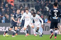 February 18, 2018 - Marseille, France - 02 HIROKI SAKAI (om) - 29 ANDRE FRANK ZAMBO ANGUISSA (om) - 21 Theo PELLENARD  (Credit Image: © Panoramic via ZUMA Press)