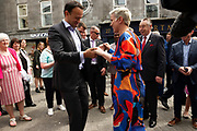 17/05/2019 repro Free:   MEP Candidate Maria Walsh got a dance from party leader and Taoiseach Leo Varadkar in Galway as the team canvassed the town and visited the Portershed  which celebrated it's third Birthday. Photo:Andrew Downes, Xposure