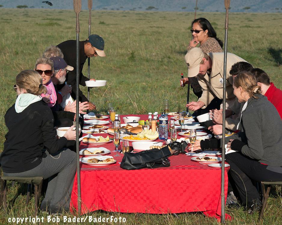 Safari Breakfast following dawn hot-air balloon ride over the Maasai Mara in Kenya