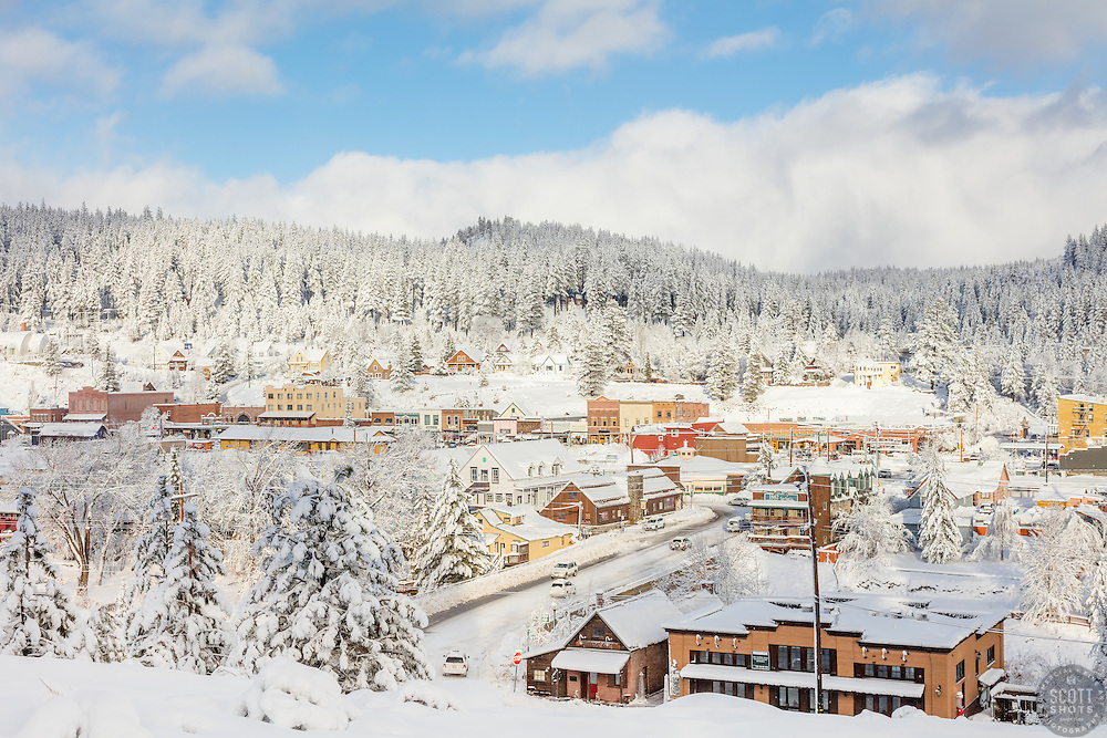"""""""Downtown Truckee 26"""" - Photograph of a snowy historic Downtown Truckee, shot in the morning after a big snow storm."""
