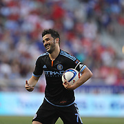 David Villa, NYCFC, reacts after a foul call during the New York Red Bulls Vs NYCFC, MLS regular season match at Red Bull Arena, Harrison, New Jersey. USA. 10th May 2015. Photo Tim Clayton