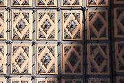 Detail of wooden door of Convent and church of San Esteban in Salamanca, Spain