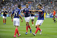 FOOTBALL - UEFA EURO 2012 - QUALIFYING - GROUP D - FRANCE v ROMANIA - 9/10/2010 - PHOTO JEAN MARIE HERVIO / DPPI - JOY YOANN GOURCUFF (FRA) WITH DIMITRI PAYET AFTER HIS GOAL