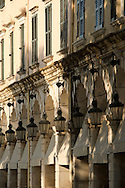 Old lanterns over the Liston arcades in Corfu old town, Corfu, The Ionian Islands, The Greek Islands, Greece, Europe
