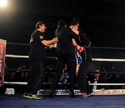 Team Haskins celebrate - Photo mandatory by-line: Dougie Allward/JMP - Tel: Mobile: 07966 386802 27/04/2013 - SPORT - FOOTBALL - City Academy Sports Centre - Bristol - Lee Haskins V Martin Ward - British bantamweight title