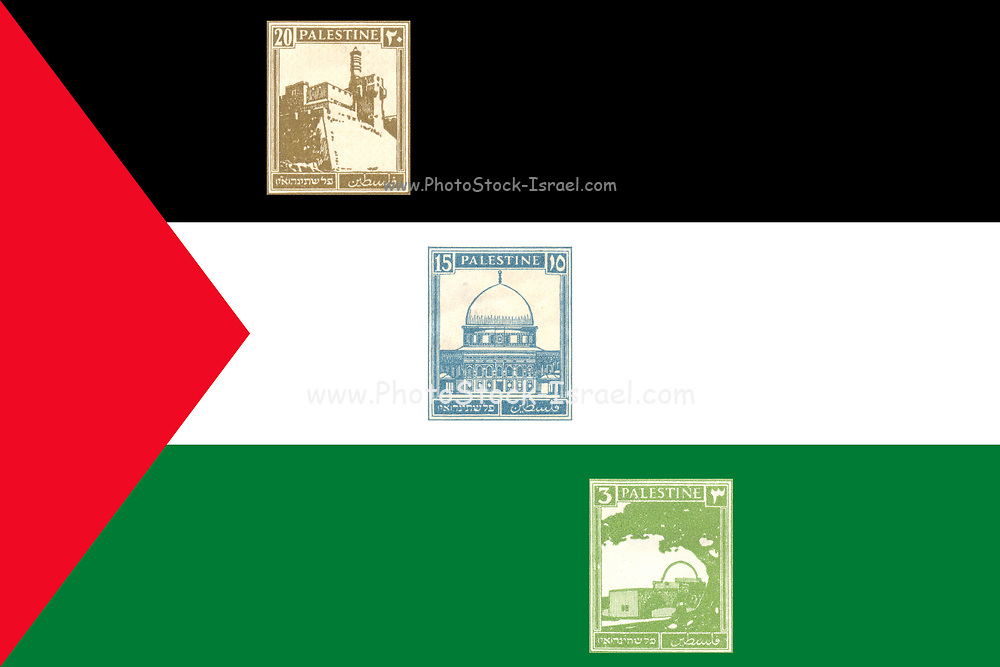 Three British Mandate Palestine stamp on Palestinian flag background