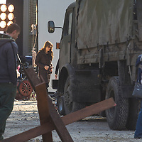 US actress Angelina Jolie shooting her first movie as a director set in Serbian war in public locations of Budapest, Hungary, Wednesday, 13. October 2010. ATTILA VOLGYI