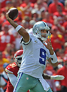 KANSAS CITY, MO - SEPTEMBER 15:  Quarterback Tony Romo #9 of the Dallas Cowboys throws a pass down field against the Kansas City Chiefs during the second half on September 15, 2013 at Arrowhead Stadium in Kansas City, Missouri.  Kansas City defeated Dallas 17-16. (Photo by Peter Aiken/Getty Images) *** Local Caption *** Tony Romo