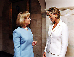 American First lady Hillary Rodham Clinton, left, meets with Diana, Princess of Wales at the White House.