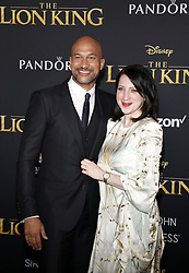 Keegan-Michael Key and Elisa Pugliese at the World premiere of 'The Lion King' held at the Dolby Theatre in Hollywood, USA on July 9, 2019.