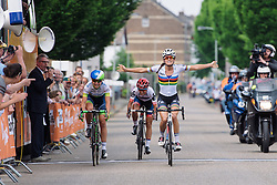 Lizzie Armitstead (Boels Dolmans) successfully defends her Boels Hills Classic title. Beating off competition from Annemiek van Vleuten (Orica AIS) and Ashleigh Moolman Pasio (Cervélo Bigla) in the final sprint - Boels Hills Classic 2016. A 131km road race from Sittard to Berg en Terblijt, Netherlands on 27th May 2016.