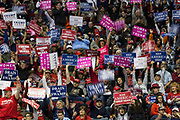 Supporters cheer before President Donald Trump took the stage to speak at a rally in support of Republican Senator Ted Cruz's midterm re-election campaign at the Toyota Center in Houston, Texas, U.S., October 22, 2018