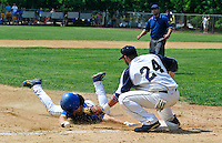 Cranford defeated Freehold Boro 4-1 in the 2012 NJSIAA/The Star-Ledger Baseball Championships. The ball gets away from Boro thirdbaseman Anthony Vazzana (24) allowing Cranford's Sean Feeney to slide safely into third base. Game was played at Toms River South. / Russ DeSantis/For The Star Ledger