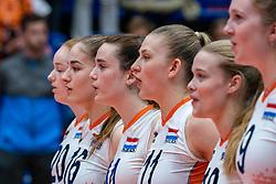 Jolijn de Haan of Netherlands, Nicole van de Vosse of Netherlands, Elles Dambrink of Netherlands, Iris Vos of Netherlands during United States - Netherlands, FIVB U20 Women's World Championship on July 15, 2021 in Rotterdam
