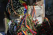 Memorial wreaths, Bucharest, Romania. Photographed in winter December