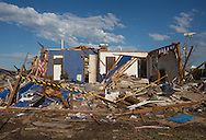 May 22, 2013, Moore, Oklahoma, Damage from an EF5 tornado that was 1.3 miles wide and hit a path 17 miles long. Climate change may be a contribution to the great strength of this tornado. Moore, Oklahoma is in tornado alley.
