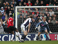 Photo: Lee Earle.<br /> West Bromwich Albion v Manchester United. The Barclays Premiership. 18/03/2006. United's Luis Saha (L) scores their second.