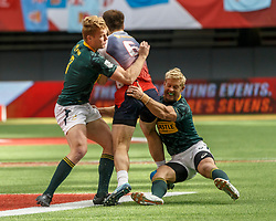 March 10, 2018 - Vancouver, British Columbia, U.S. - VANCOUVER, BC - MARCH 10: South Africa players tackle Vitaly Zhivatov (#6) of Russia during Game # 2- South Africa vs Russia Pool D match at the Canada Sevens held March 10-11, 2018 in BC Place Stadium in Vancouver, BC. (Photo by Allan Hamilton/Icon Sportswire) (Credit Image: © Allan Hamilton/Icon SMI via ZUMA Press)