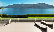 beautiful terrace of a penthouse overlooking the lake, outside