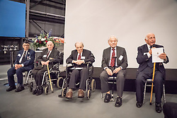 """Five RAF veterans of World War Two (L-R: Ralph Levy, Alfred Guberman, Jack Toper, Bernard Carton and Laurence """"Benny"""" Goodman) at Hidden Heroes, an event celebrating the part played by Jewish volunteers in the Royal Air Force during World War Two, at the RAF Museum in London.  The event is part of celebrations to mark the centenary of the RAF. Photo date: Thursday, November 15, 2018. Photo credit should read: Richard Gray/EMPICS"""