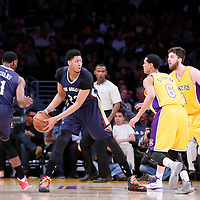 01 April 2015: New Orleans Pelicans forward Anthony Davis (23) looks to pass the ball over Los Angeles Lakers forward Ryan Kelly (4) and Los Angeles Lakers guard Jordan Clarkson (6) during the New Orleans Pelicans 113-92 victory over the Los Angeles Lakers , at the Staples Center, Los Angeles, California, USA.