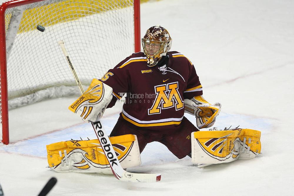 13 January 2012: Minnesota Golden Gophers goalie Kent Patterson (35) against North Dakota Fighting Sioux at Ralph Engelstad Arena in Grand Forks, ND. North Dakota defeated Minnesota 2-1.