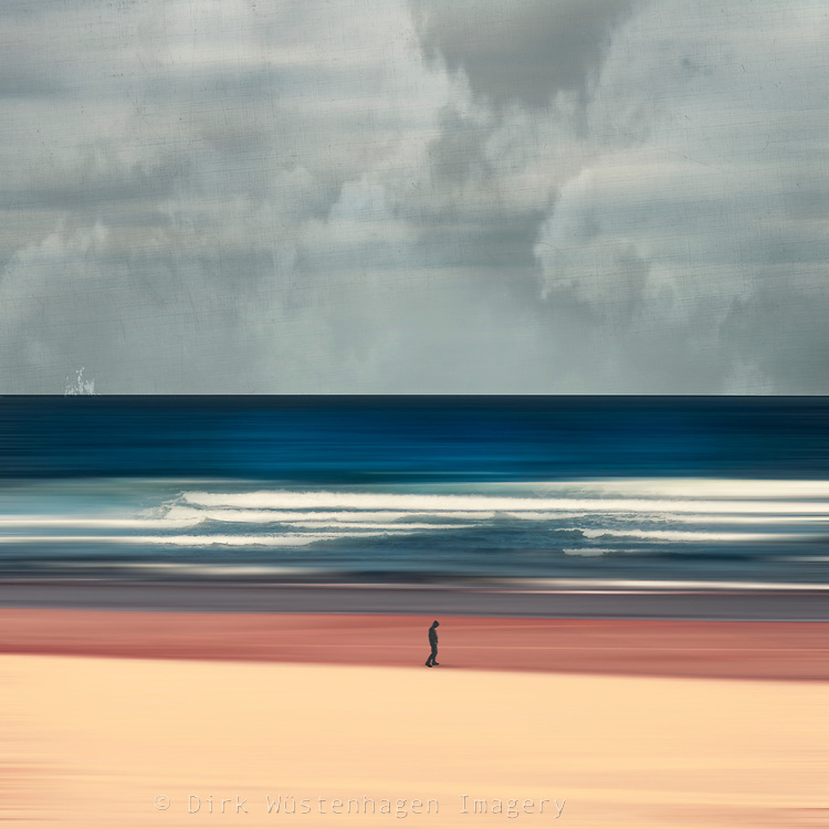 Abstract seascape with a man walking on a beach