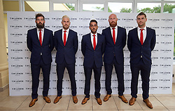 CARDIFF, WALES - Wednesday, June 1, 2016: Joe Ledley, Aaron Ramsey, Neil Taylor, James Collins, Sam Vokes wearing T.M. Lewin suits before a charity send-off gala dinner at the Vale Resort Hotel ahead of the UEFA Euro 2016. (Pic by David Rawcliffe/Propaganda)