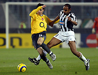 Photo: Chris Ratcliffe.<br /> Juventus v Arsenal. UEFA Champions League. Quarter-Finals. 05/04/2006. <br /> Cesc Fabregas of Arsenal gets away from Emerson