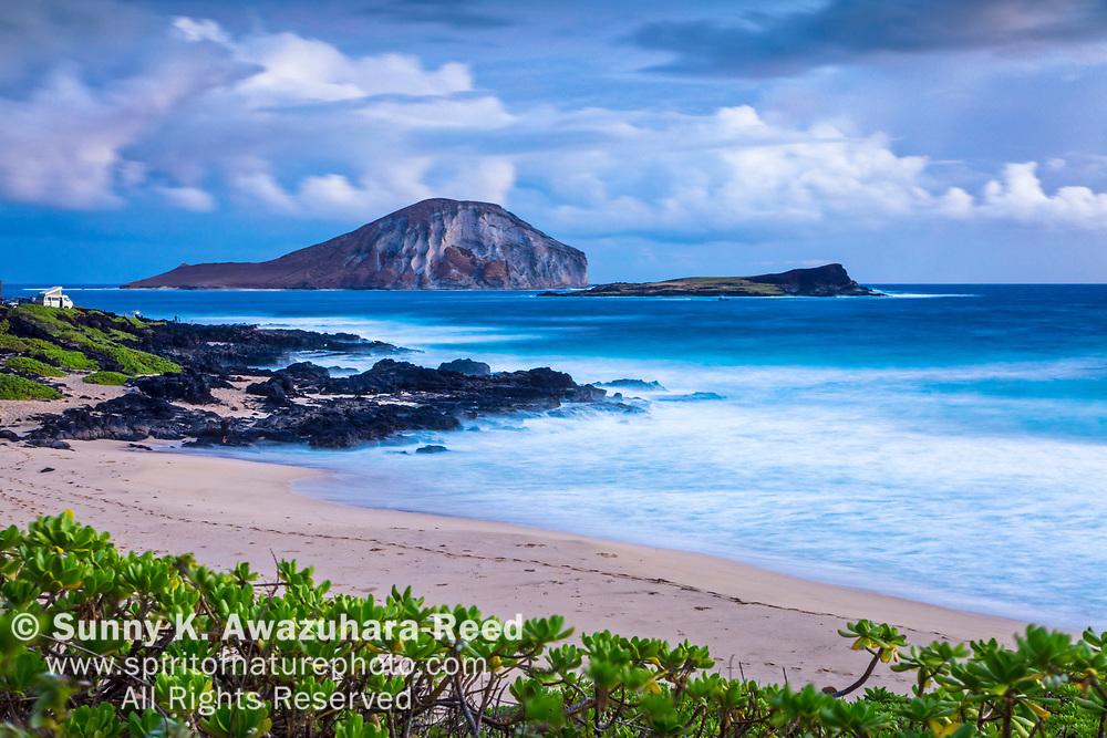 Rabbit Island, Kaohikaipu Island State Seabird Sanctuary, and Makapu'u Beach at dawn, Oahu Island, Hawaii.