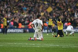Raul Jimenez of Wolverhampton Wanderers on his knees at the final whistle - Mandatory by-line: Arron Gent/JMP - 07/04/2019 - FOOTBALL - Wembley Stadium - London, England - Watford v Wolverhampton Wanderers - Emirates FA Cup Semi Final