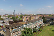The Aylesbury Estate, a large housing estate located in Walworth on 13th May 2016 in South London, United Kingdom. The Aylesbury Estate contains 2,704 dwellings and was built between 1963 and 1977. The estate is partially occupied and is currently undergoing a major redevelopment.