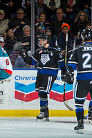 KELOWNA, CANADA - DECEMBER 30: Tyler Soy #17 of the Victoria Royals celebrates a goal against the Kelowna Rockets on December 30, 2017 at Prospera Place in Kelowna, British Columbia, Canada.  (Photo by Marissa Baecker/Shoot the Breeze)  *** Local Caption ***