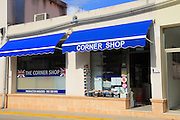 British corner shop in Orba village, Marina Alta, Alicante province, Spain