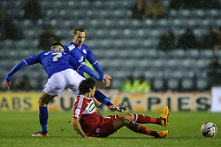 Middlesbrough Defender Rhys Williams (AUS)  (capt) is brought down by Leicester Midfielder Ben Marshall (ENG) during the first half of the match - Photo mandatory by-line: Rogan Thomson/JMP - Tel: Mobile: 07966 386802 18/01/2013 - SPORT - FOOTBALL - King Power Stadium - Leicester. Leicester City v Middlesbrough - npower Championship.