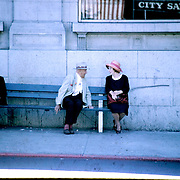 man, woman, seniors, bench, hats