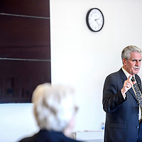 University of New Mexico Gallup campus CEO finalist Richard Fleming introduces himself in the Calvin Hall Auditorium at the University of New Mexico in Gallup Thursday.