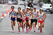Yoshiki Takenouchi,Ryo Hashimoto, Kengo Suzuki, Yuma Hattori, Suguro Osako and Shogo Nakamura lead the men's race during the Marathon Grand Championship, Sunday Sept. 15 2019, in Tokyo. Nakamura won in 2:11:28, followed by Hattori in 2:11:36 and Osako in third in 2:11:41. (Agence SHOT/Image of Sport)