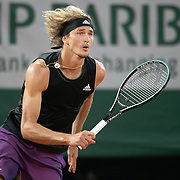 PARIS, FRANCE June 4.  Alexander Zverev of Germany in action against Laslo Djere of Serbia on Court Philippe-Chatrier during the third round of the singles competition at the 2021 French Open Tennis Tournament at Roland Garros on June 4th 2021 in Paris, France. (Photo by Tim Clayton/Corbis via Getty Images)