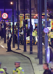 """Emergency personnel tend to wounded on London Bridge as police are dealing with a """"major incident"""" at London Bridge."""