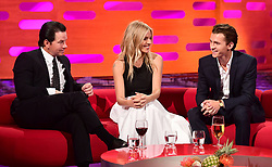 (left to right) Mark Wahlberg, Sienna Miller and Tom Holland during filming of the Graham Norton Show at the London Studios, to be aired on BBC One on Friday evening.