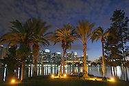 A view of the skyline of downtown Orlando, Florida, at dusk with Lake Eola in the foreground on September 25, 2008.