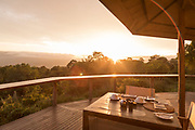 Table set for breakfast outside of The Highlands Camp, Ngorongoro Highlands, Tanzania