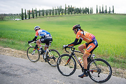 Nikki Harris and Lucinda Brand are together at the front of the race - 2016 Strade Bianche - Elite Women, a 121km road race from Siena to Piazza del Campo on March 5, 2016 in Tuscany, Italy.
